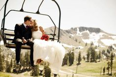 A special  moment captured on a chairlift at Squaw Valley  Chair lift wedding Lake Tahoe Weddings