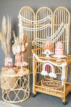 Take a look at this amazing rainbow boho bridal shower! The dessert table is fabulous!  See more party ideas and share yours at CatchMyParty.com #catchmyparty #partyideas #boho #rainbow #bridalshower #bohoparty Unique Bridal Shower, Bridal Shower Cakes, Bridal Shower Party, Wedding Showers, Rainbow Parties, Rainbow Birthday Party, Bridal Shower Invitations, Colorful Decor, Dessert Table