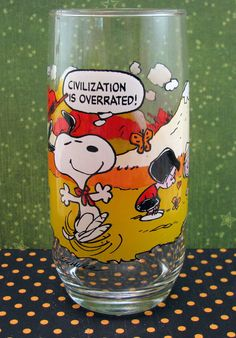 Civilization is overrated! Vintage Peanuts Camp Snoopy Glass 1983 Promotion - 16oz - McDonalds. $4.95, via Etsy.