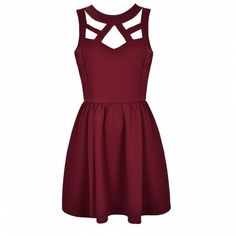 CUT OUT SKATER DRESS Ally Fashion found on Polyvore featuring polyvore, women's fashion, clothing, dresses, vestidos, robes, short dresses, purple skater dress, short cut out dresses and cut out skater dress