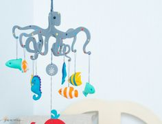 Nautical Baby Mobile-Octopus Mobile-Sea by SUNandCo on Etsy