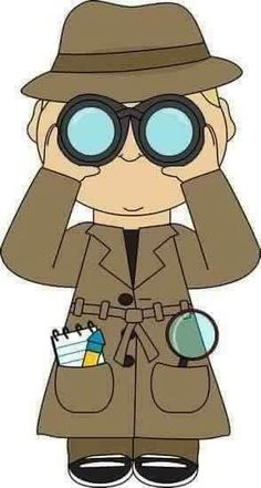 Detective with binoculars. This is the type of clothing our detective will wear… School Themes, Classroom Themes, Beginning Of School, Sunday School, Clipart, Detective Theme, Binoculars For Kids, Spy Party, Vacation Bible School