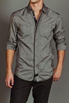 Mens Grey Button Up Shirt