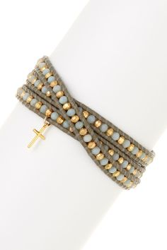 Chan Luu | Cross Charm 18K Gold Plated Sterling Silver Nugget & Amazonite Beaded Leather Wrap Bracelet | Nordstrom Rack