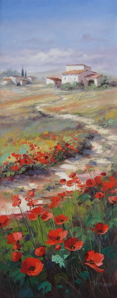 Oil painting - Landscape with poppies in Tuscany - A path leads through wide fields, past picturesque houses More oil paintings by Ute Herrm . Watercolor Landscape, Landscape Art, Landscape Paintings, Watercolor Paintings, Oil Paintings, Mini Canvas Art, Painting People, Online Painting, Beautiful Paintings
