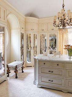 Tour this absolutely stunning French provincial home in South Dakota #closet #european Master Closet, Closet Bedroom, Armoire Dressing, Dressing Rooms, Wall Panel Molding, French Provincial Home, European Style Homes, European Decor, Arched Doors