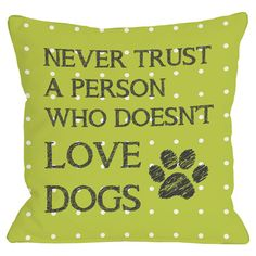 Polka dot throw pillow in lime with a typographic design. Made in the USA.    Product: PillowConstruction Material: ...