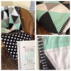 Geometric Mint Triangle Cot Quilt Mint Grey Black on Etsy, $172.98
