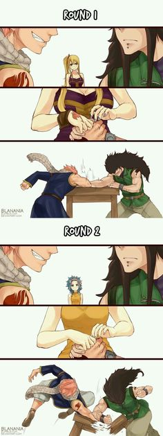 Arm Wrestling by blanania on DeviantArt # fairy tail Fairy Tail Meme, Fairy Tail Ships, Anime Fairy Tail, Fairy Tail Comics, Fairy Tail Art, Fairy Tail Guild, Fairy Tales, Fairy Tail Couples Comics, Gale Fairy Tail