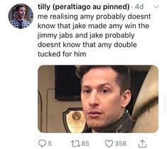 The double tuck! Watch Brooklyn Nine Nine, Brooklyn 9 9, Charles Boyle, Jake And Amy, Jake Peralta, Andy Samberg, Parks N Rec, Best Shows Ever, Movies And Tv Shows