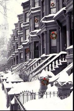 Winter row houses