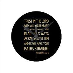 Christian Scriptural Bible Verse - Proverbs 3:5-6 Round Clock