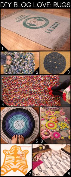Maiden Jane - Coffee bag rug Molly Kay Stoltz - tshirt shag rug Curbly - Rope climbing rug Conversation Pieces - Felt ball rug One Dog Woof - Crochet rug Curbly - Rope rug Chic & cheap nursery - Zebra felt rug A Beautiful mess -… Home Crafts, Fun Crafts, Diy And Crafts, Arts And Crafts, Diy Projects To Try, Craft Projects, Felt Ball Rug, Diy Décoration, Crafty Craft