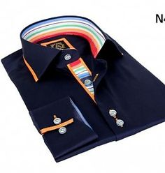 Avenue 21 Herren Hemden  Model N 401 Slim-fit Dunkelblau mit Orange steifen Regenbogen Detail. Slim Fit, Shirt Dress, Orange, Mens Tops, Shirts, Dresses, Fashion, Rain Bow, Dark Blue