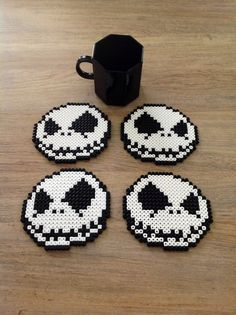 jack Skellington coasters perler beads by clochette241 on deviantART