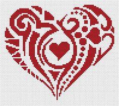 Cross stitch pattern HeartInstant download PDF by XStitchLogo Cross Stitching, Cross Stitch Embroidery, Embroidery Patterns, Quilt Patterns, Cross Stitch Letters, Cross Stitch Heart, Heart Quilt Pattern, Heart Patterns, Wedding Cross Stitch Patterns