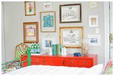 Gebhardt Guest Room/Office - A Storied Style Guest Room Office, Kids Artwork, Simple Art, Easy Art, New Wall, Vintage Frames, Art For Kids, Kid Art, Decoration