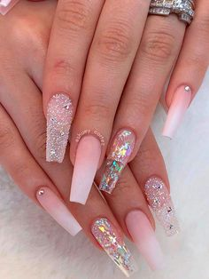 Amazing French ombre coffin nails with glitter! Amazing French ombre coffin nails with glitter! Acrylic Nails Coffin Pink, Square Acrylic Nails, Coffin Shape Nails, Summer Acrylic Nails, Acrylic Nail Designs, Pink Acrylics, Fancy Nails, Bling Nails, Swag Nails
