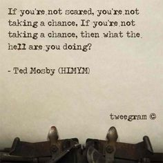 """If you're now scared, you're not taking a chance. If you're not taking a chance, then what the hell are you doing?"" - Ted Mosby"