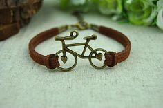 Brown  Leather  braceletBronze Bike BraceletWomens by Evanworld, $2.50