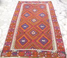 Red and Orange Kilim Area Rug Hand woven Turkish Kilim Carpet Modern Bohemian Home Decor FAST & FREE SHIPPING
