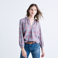 Limited edition and small batch, Rivet & Thread designs are future keepsakes crafted from top-of-the-line fabrics. This popover shirt is made of a Japanese indigo plaid with a perfectly faded look. Plus, the shirred collar has raw edges for a well-loved vibe. <ul><li>True to size.</li><li>Poly/cotton.</li><li>Machine wash.</li><li>Import.</li><li>Select stores.</li></ul>