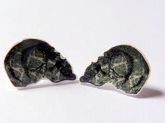 Skull Earrings  Black and white patterns  Rocker by Floralchic