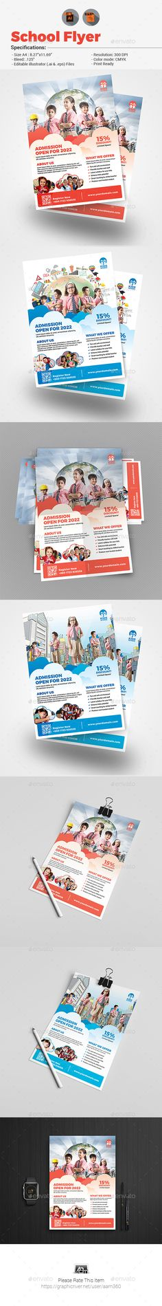 School Flyer — Vector EPS #school promotion #pre school • Available here → https://graphicriver.net/item/school-flyer/19634930?ref=pxcr