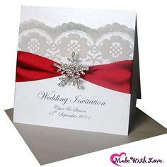 burgundy Snowflake & Lace Wedding Invitations for a winter wedding invitation - shown here in burgundy