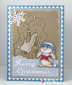 CC Designs, Winter Bunny, Winter Cottage, Snowy Day paper and dots, Snow storm ink, Snowflakes Die, Make a card #11 Winter Die, Make a card #10 Christmas Die, Pinky Rectangles die,  Rectangles #1 die