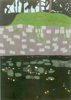 彼岸花とお堀。2011年6月。OPAギャラリー「水景」展。
