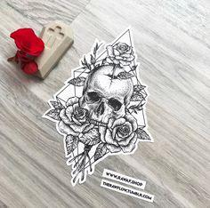 Dotwork Schädel Rose Rosen Tattoo-Design, jetzt herunterladen oder beauftragen Sie mich: www . Mandala Tattoo Design, Dotwork Tattoo Mandala, Tattoo Designs, Skull Tattoo Design, Tattoo Ideas, Art Designs, Small Skull Tattoo, Geometric Tattoo Skull, Mandala Tattoo Back