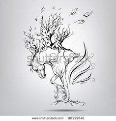 A horse with a mane of branches. Vector illustration - stock vector