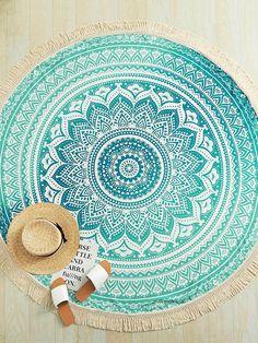 Mandala Print Fringe Trim Round Beach Blanket -SheIn(Sheinside)