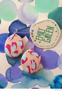 Emily Green polymer clay drop earrings