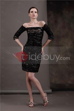 魅力的なアップリケ/ビーズシース/シースラインショルダー3/4-スリーブ膝丈Lubaの母ドレス