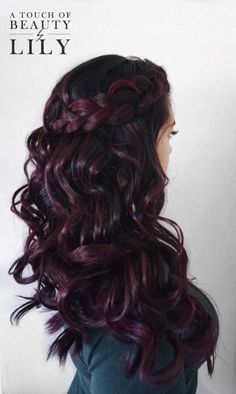Dark Purple Hair Color Ideas Trendy Hair Color Highlights Dark Purple Hair and Dutch Onbre Hair, New Hair, Curls Hair, Red Curls, Hair Dye, Blonde Hair, Hair Color For Black Hair, Black Cherry Hair Color, Violet Red Hair Color