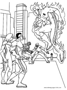Fantastic 4 color page, four, cartoon characters coloring pages ...