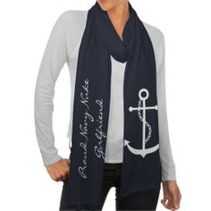 "Personalized White Anchor Scarf from Zazzle.com that says ""Proud Navy Nuke Girlfriend"""