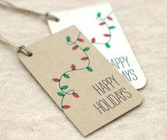 Christmas Gift Tags, Christmas Lights Handmade Happy Holiday Gift Tags – Set of 10 – White or Brown Recycled - Geschenke Ideen Diy Christmas Lights, Diy Christmas Cards, Christmas Gift Wrapping, Homemade Christmas, Xmas Cards, Christmas Crafts, Christmas Tags Handmade, Happy Holidays Cards, Christmas Ideas