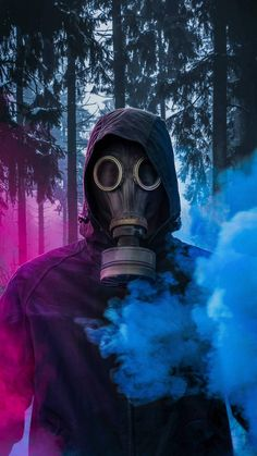 Colored Smoke Gas Mask iPhone Wallpaper - iPhone Wallpapers