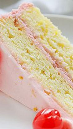 Limeade Cake with Cherry Buttercream Recipe | I Am Baker