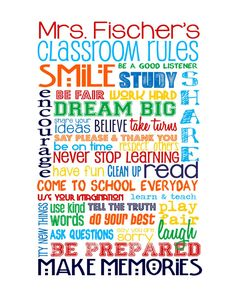 "Customize with Teacher's Name - 8x10"" - Classroom Rules for HIGH SCHOOL Classroom - Primary Colors"