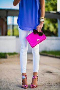Don't like the shoes but love the cobalt blue with white denim.