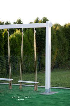 Huśtawka Ogrodowa (Nie Tylko dla Dziecka) - DIY - Backyard Swings, Backyard Playground, Backyard For Kids, Garden Furniture, Outdoor Furniture, Outdoor Decor, Antique Furniture, Garden Swing Seat, Backyard Renovations