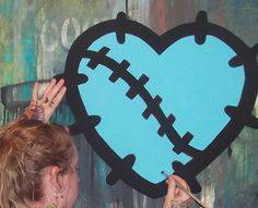 Handpainted HUGE Monster High Frankie Stitched HEART Logo Original Style Hand Painted Painting Wallpaper Sticker Decal Decor Wall Art Mural on Etsy, $26.99