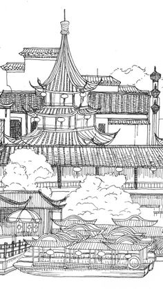 Ancient City Drawing. Asian or oriental houses and buildings. Asian architecture art. Tap to see more beautiful iPhone 6 Wallpapers, lockscreen backgrounds, fondos. - @mobile9