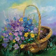 Olyha (Olga) Darchuk ( b. September 1976 in the city of Krivoy Rog, Dnepropetrovsk region)~ Bouquet of wild flowers in a basket Art Floral, Watercolor Flowers, Watercolor Paintings, Bouquet, Pictures To Paint, Painting Inspiration, Flower Art, Fine Art America, Art Drawings
