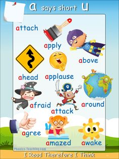 a-says-short-u - FREE PRINTABLE phonics poster for auditory discrimination, sound studies, vocabulary and classroom reference.