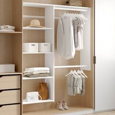 Get inspired by Modern Closet Design photo by Dotted Line. Wayfair lets you find the designer products in the photo and get ideas from thousands of other Modern Closet Design photos. Closet Shoe Storage, Closet Rod, Closet Shelves, Closet Organization, Deep Closet, Hall Closet, Closet Bedroom, Closet Space, Bedroom Storage